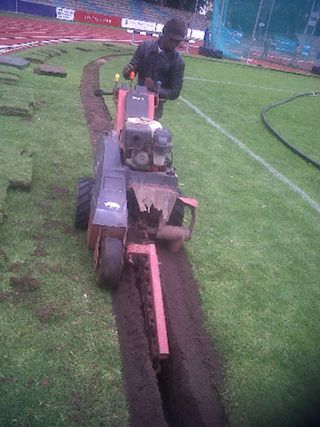 irrigation trenching sports field